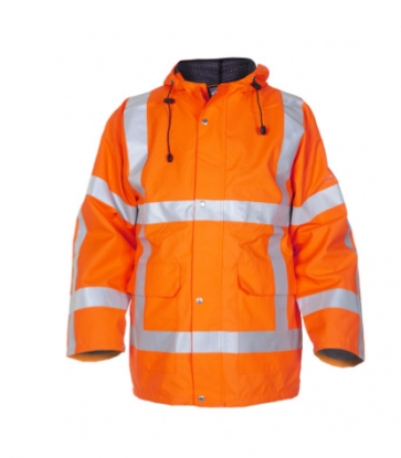 Hydrowear Uithoorn Hi-Vis Waterproof Breathable Orange Stormcoat / Parka jacket with interactive zip