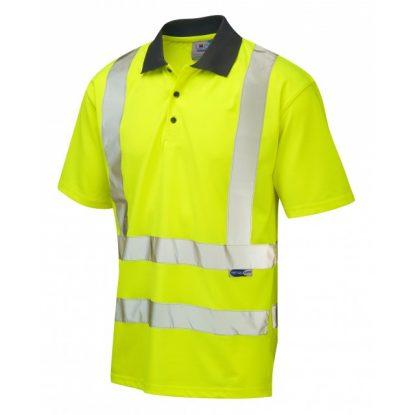 Hi-Vis EcoViz 100% Recycled Polyester Short Sleeve Poloshirt - Yellow