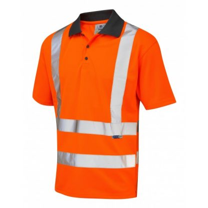 Hi-Vis EcoViz 100% Recycled Polyester Short Sleeve Poloshirt - Orange