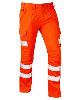 LEO KINGFORD ISO 20471 Class 1 Ecoviz PCX Stretch Polycotton Cargo Trouser Orange